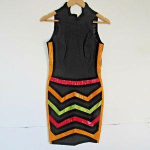 Cache Vintage Dress XS S Black Wiggle Form Fit Hig